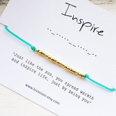 A personal favorite from my Etsy shop https://www.etsy.com/ca/listing/277472916/inspire-morse-code-bracelet