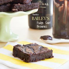Rich, fudgy brownies with a ripple of Irish Cream fudge make these Flourless Bailey's Fudge Swirl Brownies utterly decadent and irresistable!