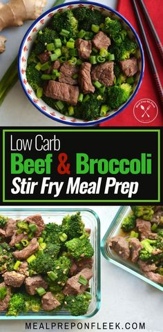 Low Carb Beef & Broccoli Stir Fry Meal Prep - Juicy beef stir-fried in a savory sauce with tender broccoli. An easy, 15-minute meal! Gluten Free. Paleo. Keto. #keto #ketogenic #ketodiet #ketorecipes #glutenfreerecipes #lowcarbrecipes #paleorecipes