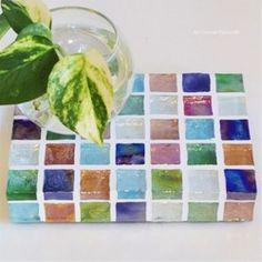 【受注制作】NEWカラフルMix ガラスモザイクタイルのディスプレイトレイmini(小物置き)