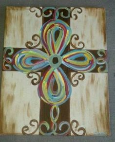Hand Painted Cross on Canvas by PaintItPinkbyCarri on Etsy