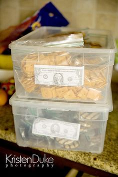"I love this idea--have the kids ""pay"" for their snacks.  When they are out of money, no more snacks for the day."