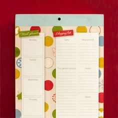 Organised Mum Fridge List Menu & Shopping List  £4.99