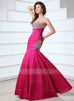 Trumpet/Mermaid Sweetheart Floor-Length Taffeta Prom Dress With Ruffle Beading (018017528)