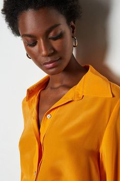 Made from premium silk, this shirt will leave you feeling your very best. A relaxed but tailored shape, it comes complete with a soft collar and buttoned-up front. Shades Of Black, 50 Shades, Silk Shirts, Up Front, Karen Millen, Workout Shirts, Button Up, How To Find Out, Things To Come