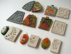 Using rubber stamps and texture tools to create polymer clay molds for jewelry making. Tutorials | Polyclay Corner