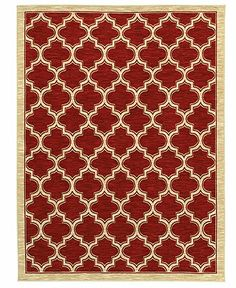 """Shaw Living Area Rug, American Abstracts Collection 01800 Milazzo Red 5' x 7'9"""" - Rugs - Macy's"""