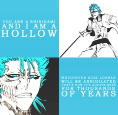 """""""You are a shinigami and I am a hollow"""". Sounds like a good prompt for a fanfic. Bleach Art, Bleach Manga, Anime Nerd, Manga Anime, Bleach Quotes, Departed Soul, Bleach Characters, Another Anime, Shinigami"""