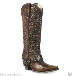 Gorgeous Tall Lane Western Boots Womens Brown Stud Rocker Cowboy Boots Size 7M | eBay