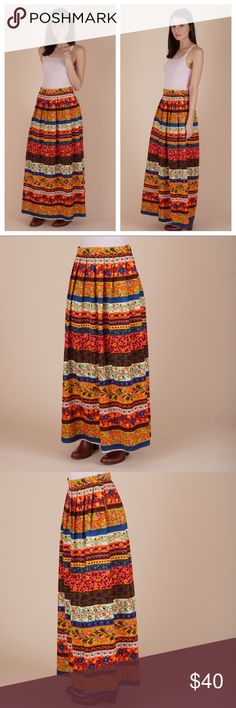 "vintage maxi skirt Vivid vintage seventies maxi skirt that will keep ya cool this summer. Pair with a bodysuit, cowboy boots, & lots of jewelry. Skirt is unlined and has zipper button closure on side.   •Excellent Condition   MEASUREMENTS  •no size marked | best fits a 4? •waist 27"" •hips 48"" •length 38""  🌈All items ship within 1-2 business days. No trades or holds. All photos are original and of the exact item being sold. Vintage Skirts Maxi"