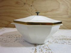 Vintage Porcelain Soup Tureen or Serving Bowl with Lid and Handles * Made in USA by RainbowConnection15 on Etsy