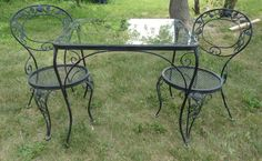 Vintage Woodard Roses Wrought Iron Outdoor Patio Dining Table & 2 Side Chairs