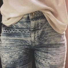Aztec print jeans, I would totally wear these!