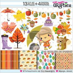 Autumn Clipart, Autumn Graphics, COMMERCIAL USE, Kawaii Clipart, Planner Accessories, Autumn Party, Squirrel Graphic, Fall Clipart, Leave
