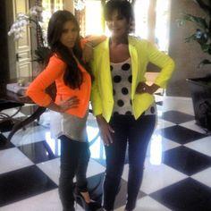 Kim Kardashian & Kris Jenner Bright Blazer Matching Fashion - Gorgeous Makeup & Hair -Click for blog post on this style trend