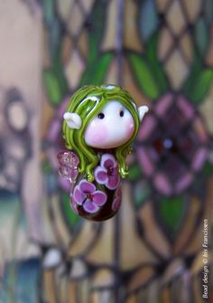 Lovely+little+Flower+Fairy+Glass Lampwork Focal Bead+by+Glaskralen+on Very beautiful bead Polymer Clay Beads, Lampwork Beads, Fused Glass, Glass Beads, Beads Of Courage, Glass Ceramic, Handmade Beads, How To Make Beads, Bead Art