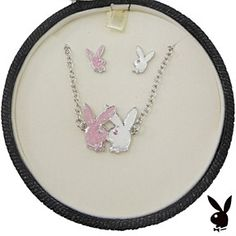 Playboy Jewelry Set Necklace Earrings Pink White Kissing Bunnies Jewellery Box…