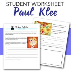All About Paul Klee-Student worksheet Lessons For Kids, Art Lessons, School Projects, Art Projects, Example Of Abstract, History For Kids, Art History, Paul Klee Art, Deep Space Sparkle