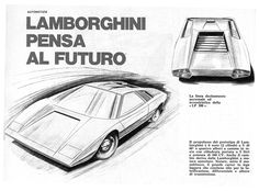 Sketchbook historic cars : An italian masterpiece - Lamborghini Countach - Prototipo 1971 - Designer Marcello Gandini per la Carrozzeria Bertone