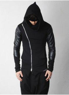 Leather Sleeve Slanted Asymmetric Zip-up Cowl Neck Avant