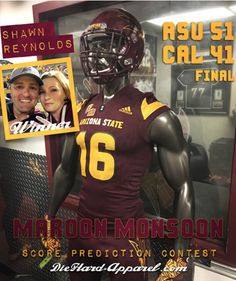 """""""Predict the Final Score of the 2016 Maroon Monsoon Game"""" - Of all entries in the DieHard-Apparel contest, Sun Devil SHAWN REYNOLDS gave the most accurate prediction of 52-41 ASU, just one point off the 51-41 Final Score.  #DieHardFact: In six Maroon Monsoon games, going back to 2011, #ASUFootball now holds a 5-1 Record. #ForksUp, DieHard-Apparel.com"""