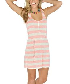 Take a look at this Neon Pink Stripe Braided Racerback Dress by Lagaci on #zulily today!