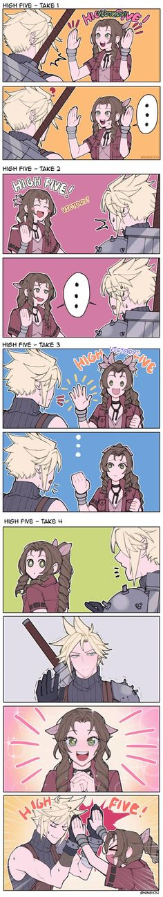 High-Five with Aerith [Ningiou] - FinalFantasy Final Fantasy Funny, Final Fantasy Cloud, Final Fantasy Characters, Final Fantasy Vii Remake, Video Game Characters, The Legend Of Zelda, Character Art, Character Design, Final Fantasy Collection