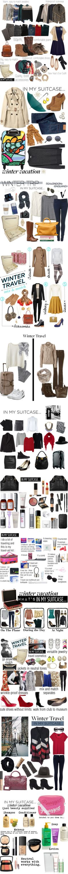 Winter travel packing ideas from Polyvore.