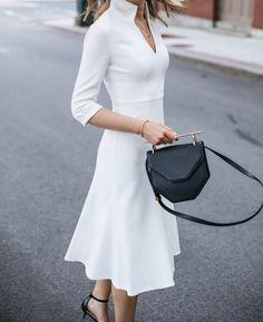 ivory vneck classic dress