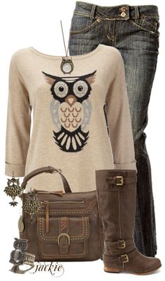 bc52fe0cf9 A fashion look from December 2012 featuring owl sweaters