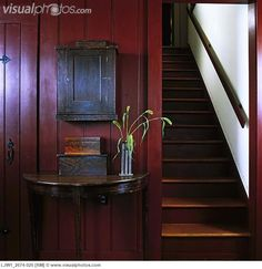 primitive staircases | Stairways: Botton of enclosed staircase, restored 1841 home, wood ...