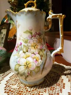 Antique Limoges Hand Painted Rose Chocolate Pot ,Artist Signed and Dated 1896