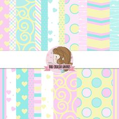 Loja: http://www.elo7.com.br/papel-digital-candy-colors/dp/4F8583 | #scrapbooking #candycolors #papel #cute #printable #spring