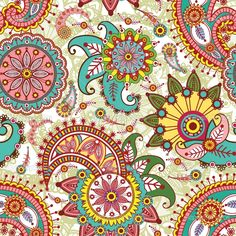 Free Paisley Designs | Seamless pattern with paisley and flowers | Stock Vector © Yuliya ...