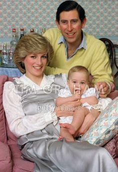 February 1, 1983: Prince Charles, Princess Diana and Prince William at Kensington Palace.