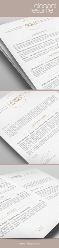 Modern resume design with matching cover letter for Microsoft Word - business letter template word