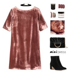 """""""mini dress"""" by fashionmelka ❤ liked on Polyvore featuring Toast, Fig+Yarrow, Ladurée, STELLA McCARTNEY, Diptyque, Simons, Gianvito Rossi, Boots, velvet and choker"""