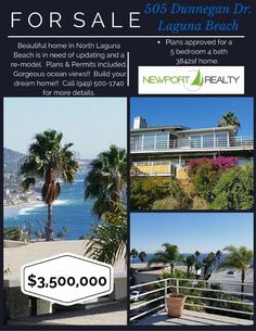 Come to our Broker Open House tomorrow from 10am - 1pm FREE Food @ 505 Dunnegan Dr Laguna Beach! Plans and permits in hand for a 5 bed 4 bath 3842 sq ft. Take over the project and build your dream home. #BobIrish #NewportRealty #Rehab #Project #BrokerOpen #NewportBeach #NewportCoast #LagunaBeach #CoronaDelMar #LuxuryHomes #MillionDollarListingOC #RealEstate #Realtor #HomesForSale #Buyers #Sellers #TheNewportLife Call me to buy or sell your home 949.500.1740