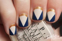 Navy & Gold Madeline Poole Nails | Little Nails