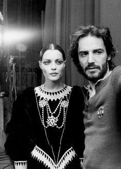 "julia-loves-bette-davis: "" Romy Schneider & director Andrzej Żuławski on the set of L'important c'est d'aimer, 1975 """