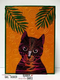 * Rubber Dance Blog *: Orange Greeting Card with the Entangled Curious Cat Stamp