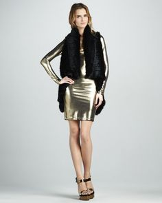 India Fur Cascade Vest & Tal Metallic Long-Sleeve Dress by Alice + Olivia at Neiman Marcus.