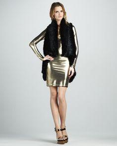 India Fur Cascade Vest & Tal Metallic Long-Sleeve Dress by Alice + Olivia at Neiman Marcus.