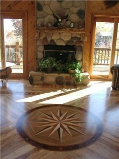 hardwood floor medallions | Character Hickory wood floor with Maritime medallion from www ...