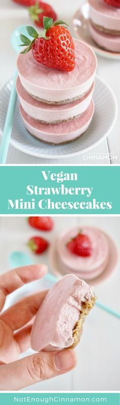 Vegan Strawberry Mini Cheesecake {Dairy Free - No Bake} #recipe #healthy #cleaneating