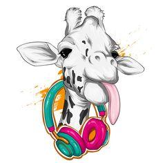 Giraffe with headphones. wild animals. | Premium Vector #Freepik #vector #watercolor #music #fashion #character Balloon Illustration, Dog Illustration, Watercolor Illustration, Cute Animal Drawings, Cute Drawings, Drawing Sketches, Wild Animals Drawing, Little Giraffe, Giraffe Art