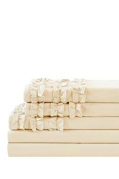 Triple Ruffle Sheet Set - Antique White
