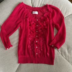 Abercrombie & Fitch Sheer Pink Blouse This top is in excellent condition, and it's adorable with jeans! Can be dressed up or down. Abercrombie & Fitch Tops Blouses