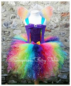 Lined Purple Top With 6 layers Tulle. Glitter Rainbow Birthday Party Dress with Matching Wings. Rainbow Dash Costume, Rainbow Tutu, Princess Tutu Dresses, Baby Dresses, Rainbow Birthday Party, Birthday Cakes, Rainbow Fairies, Diy Tutu, Rainbow Pride