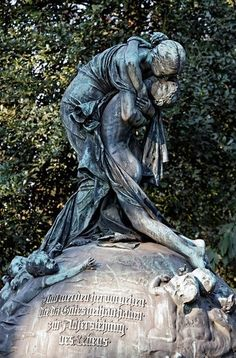 Mourning Woman hugging her son, historic grave sculpture, Nordfriedhof Cemetery, Duesseldorf. Heartbreaking truth about death. Cemetery Monuments, Cemetery Statues, Cemetery Headstones, Old Cemeteries, Cemetery Art, Graveyards, Angel Statues, Unusual Headstones, Cemetery Angels
